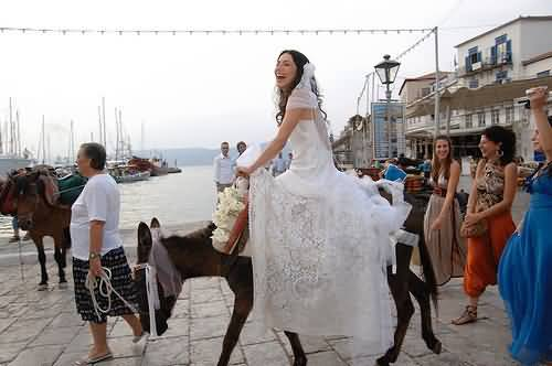 bride on donkey